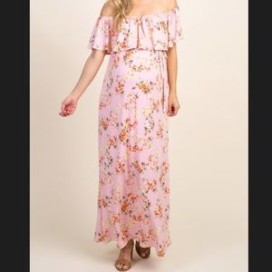 Pinkblush Dresses - NWT Pink Floral Off Shoulder Tie Maternity Dress